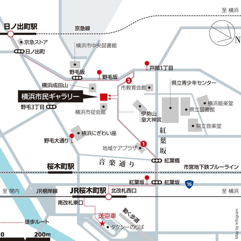 横浜市民ギャラリーへの地図