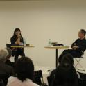 対談「舟と橋、想像力について」(9月22日)左から、阪田清子氏、倉石信乃氏
