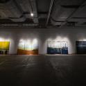 「新・今日の作家展2019 対話のあとさき」門馬美喜(左から)《相馬共同火力発電所》《原町火力発電所》《品川火力発電所》《横浜火力発電所》全て2019年 展示風景 photo:Ken KATO